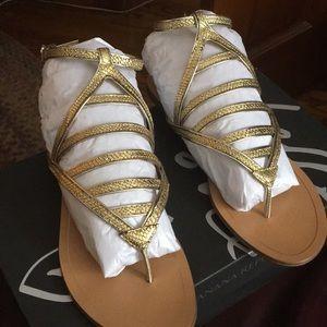 Banana Republic Rhône Gold ankle strap sandal sz 7
